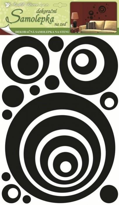 Anděl Pokojová dekorace 3D - Eva kruhy, černý glitr 41 x 29 x 0,4 cm