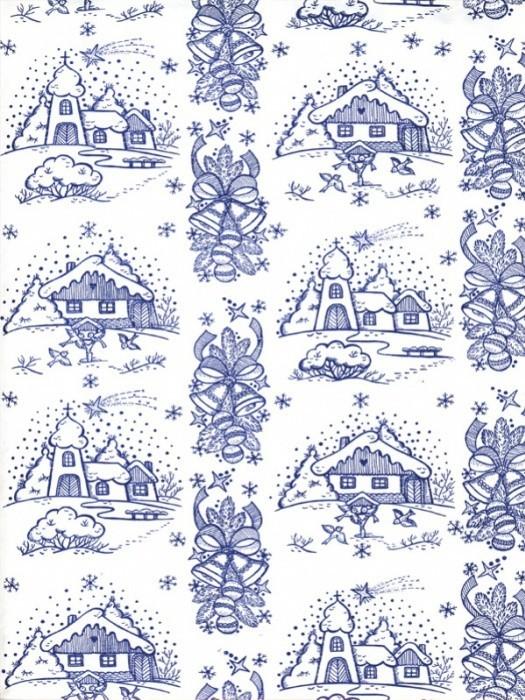 Vánoční papír - Zimní vesnička modrá č.18 - Lika - 150 ks