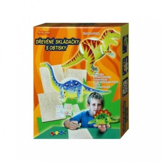 SMT Kreativní set - Dřevěná skládačka s obtisky - Dino - krabice - ZPA-CB300