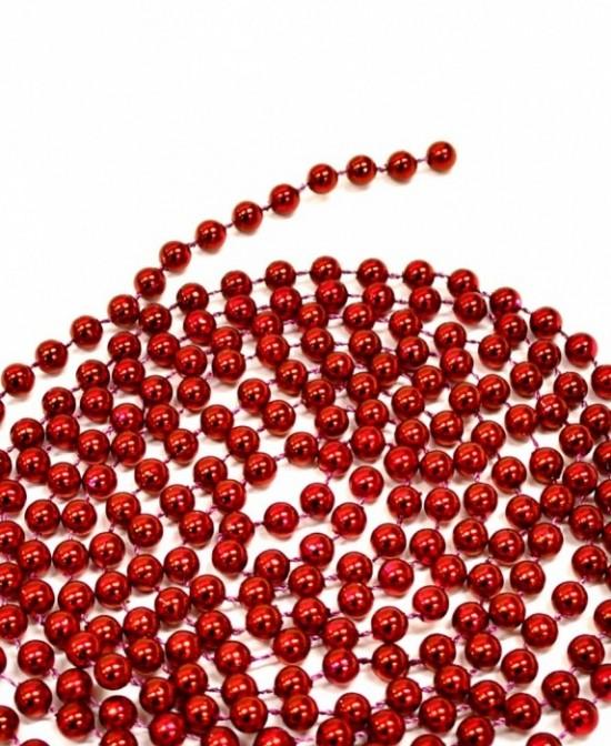 Anděl Vánoční řetěz z kuliček - červený - 4613