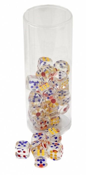 Hrací kostky 18 mm - průhledné, barevné - PK37-6