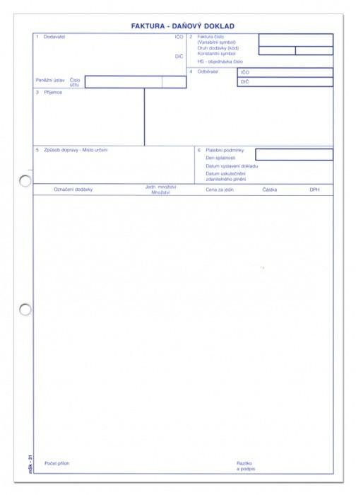 Faktura A4 propisující mSk 31