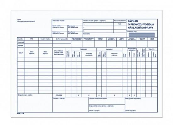Záznam o provozu vozidla nákladní dopravy propisující mSk 318