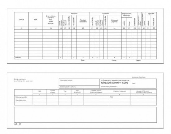 Záznam o provozu vozidla nákladní dopravy s kopii mSk 321