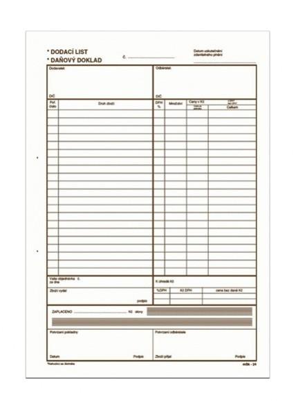 Dodací list daňový doklad A4 propisující mSk 24