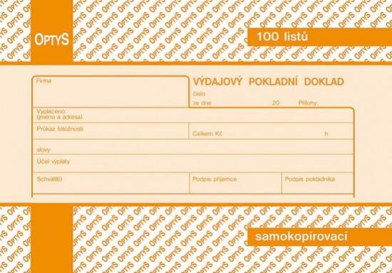 Optys 1083 Výdajový pokladní doklad A6 samopropisovací 100 listů