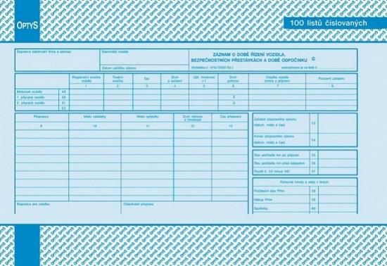 Optys Záznam o době řízení vozidla a bezpečnostních přestávkách A4 číslovaný OP 1166