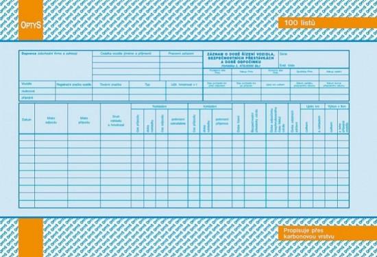 Optys Záznam o době řízení vozidla a bezpečnostních přestávkách karbon A4 OP 1174