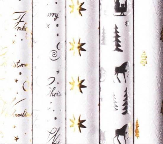 Vánoční balicí papír - White Christmas 1,5 x 0,7m - 20 ks
