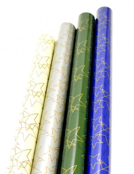 Vánoční balicí papír - oboustranný - Premium Stardust 2 x 0,7 m - 50 ks