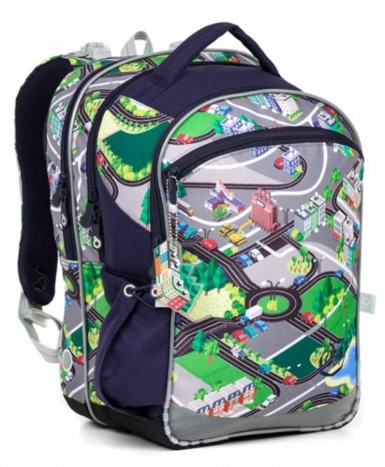 ef47f4464a Školní batoh Topgal - COCO17001 B.Tříkomorový prostorný batoh pro malé  školáky s motivem města.velikostně vhodný od 1. do 4. třídypevná  polstrovaná záda s ...