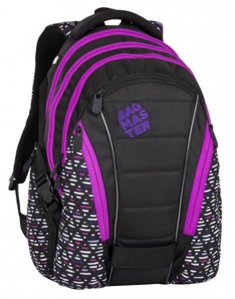 Studentský batoh Bagmaster - Bag 8A - Black / Pink / Violet + Pero Frixion ZDARMA