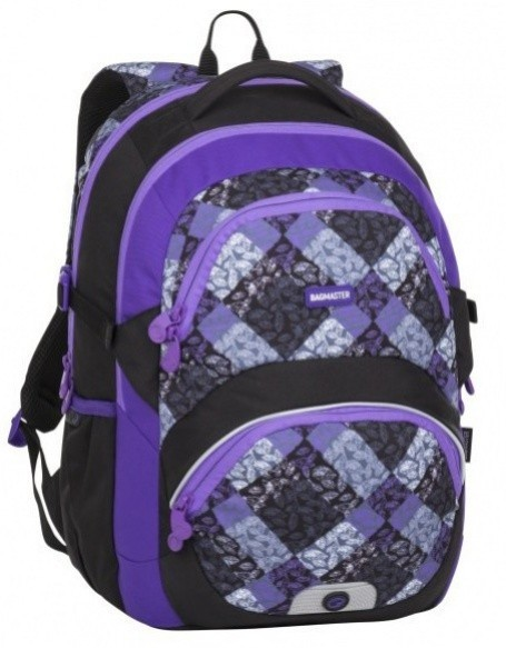 Školní batoh Bagmaster - Theory 8 B - Black / Violet / Gray + Pero Frixion ZDARMA