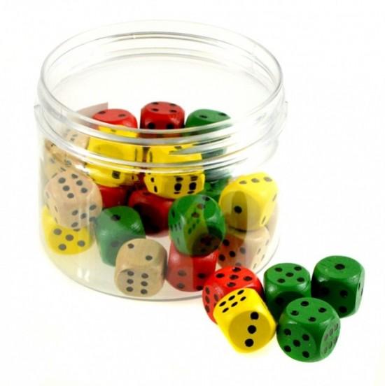 Hrací kostky 16 mm - dřevěné, barevné - PK37-9
