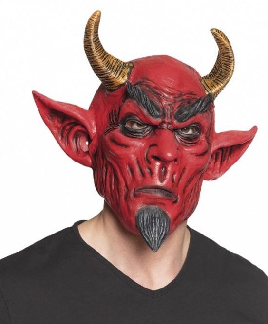 Latexová maska čerta s hnědými rohy - 97571