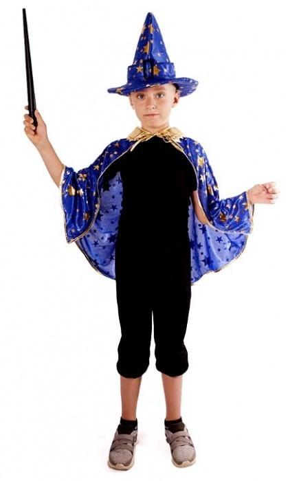 Kostým - plášť kouzelnický modrý s kloboukem 189775