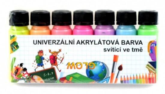 Akrylové barvy - svítící ve tmě - sada - 7 x 20 g - KRUSV720