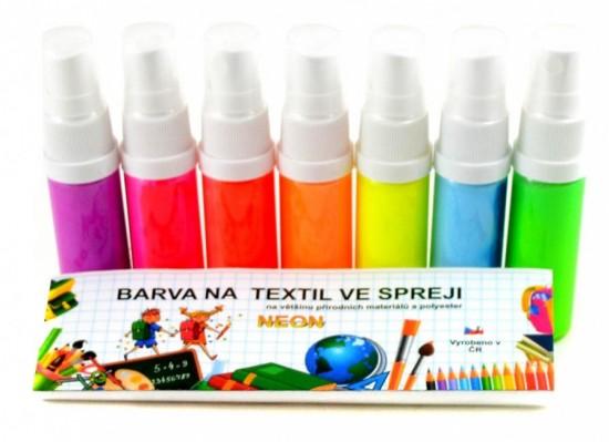 Barvy na textil ve spreji Neon - sada - 7 x 20 g - KSTN720