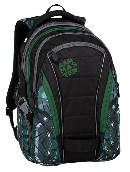 Studentský batoh Bagmaster - Bag 9 E - Green/Gray/Black + Pero Frixion ZDARMA