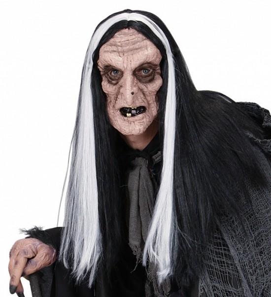 Latexová maska staré čarodějnice s parukou - W 02116