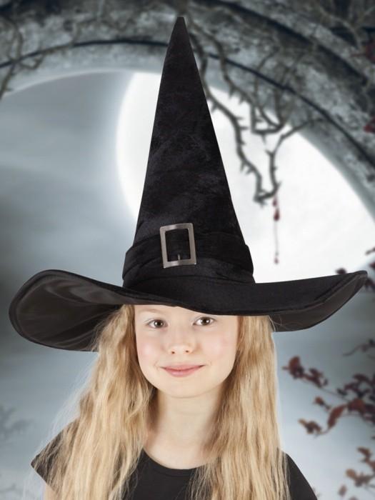 Černý čarodějnický klobouk, dětský sameťáček - ZHL 00157