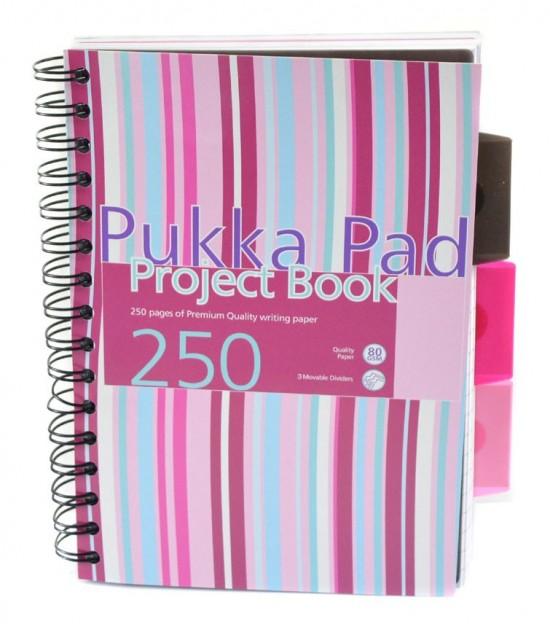 Reas Pack Projektový blok - Pukka - A5 - 100 listů - proužky - růžová, bílá - PROBA5