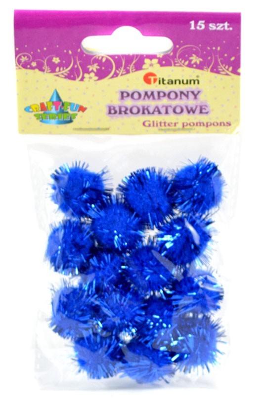 Bambulky plyšové - metalické - modré - 1,8 cm - 15 ks - 623782