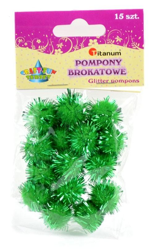 Bambulky plyšové - metalické - zelené - 1,8 cm - 15 ks - 623783