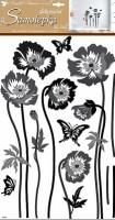 Samolepky na zeď - Černošedé květiny 10230