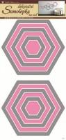 Pokojová dekorace - Šestiúhelníky šedorůžové - 1337