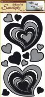 Pokojová dekorace - Srdce šedočerné - 1340