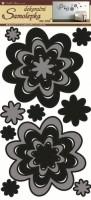Pokojová dekorace - Květy šedočerné - 1342