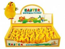 Velikonoční dekorace - Kuřátka s peříčkem 4 cm - 36 ks
