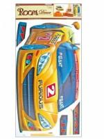 Pokojová dekorace žluté auto 60 x 32 cm - 643