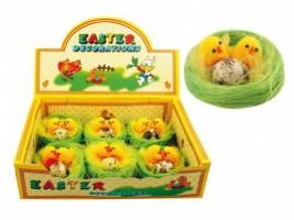 Velikonoční dekorace - kuřata v hnízdě 6 cm - 6 ks - 8616