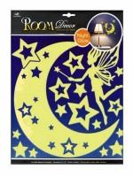 Pokojová dekorace svítící ve tmě víla s hvězdičkami 30,5 x 30,5 cm