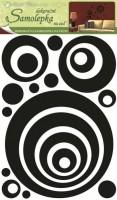 Pokojová dekorace 3D - Eva kruhy, černý glitr 41 x 29 x 0,4 cm