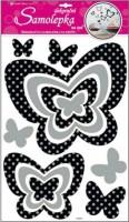 Pokojová dekorace motýli se stříbrnými glitrovými puntíky - 10010