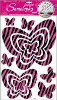 Pokojová dekorace motýli s růžovými glitrovými pruhy - 10013