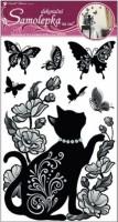 Pokojová dekorace černé kotě s glitry a kamínky - 10016