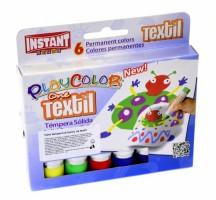 Temperové barvy tuhé Playcolor - na textil 6 ks - 4011