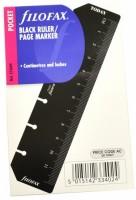 Náplň kapesní - pravítko, záložka černá Filofax 213609