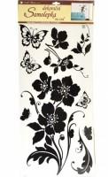 Pokojová dekorace květina + motýli - černá - 69 x 30 cm - 1042