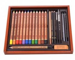 Kreslířská souprava - Trojhranné akvarelové pastelky - Koh-i-noor - Mondeluz 8897 - 21 ks