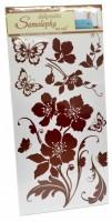 Samolepka na zeď - květiny s motýly - 10038