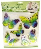Samolepka na zeď - žluto-modří motýli s pohyblivými stříbrnými křídly - 10042