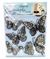 Samolepka na zeď - motýli s pohyblivými krajkovými černými křídly - 10045