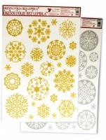 Okenní fólie - vánoční, zlaté a stříbrné kruhy  435