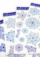 Okenní fólie - vločky, krystaly se stříbrnými glitry - 461