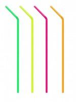 Slámky flexibilní neon 24 cm, O 5 mm